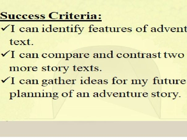 Adventure Stories Unit of Work/Adventure Fiction