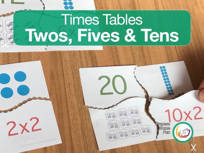 Times Tables Matching Activity TWO'S, FIVE'S & TEN'S