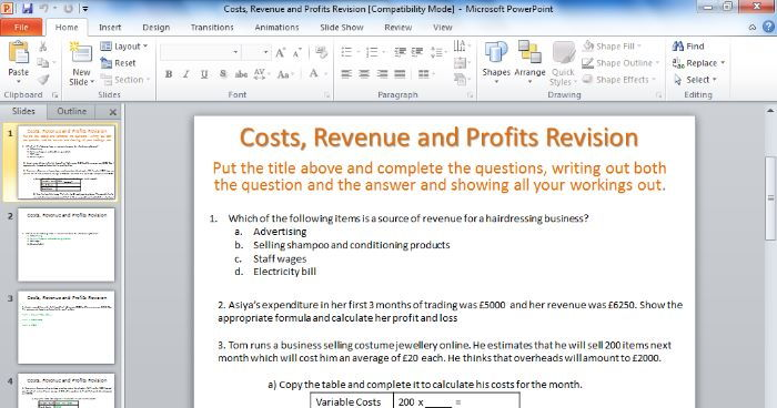 BTEC Business Unit 2 Finance - Costs, Revenue and Profits revision questions