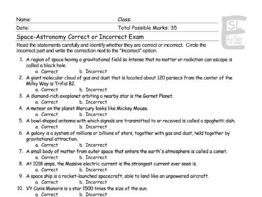 Space-Astronomy Correct-Incorrect Exam