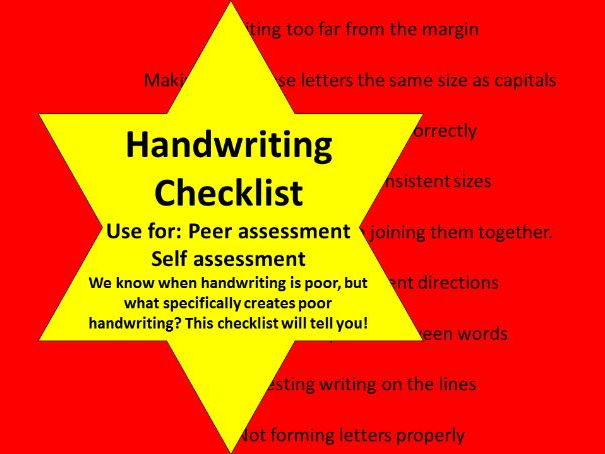 HANDWRITING CHECKLIST ASSESSMENT
