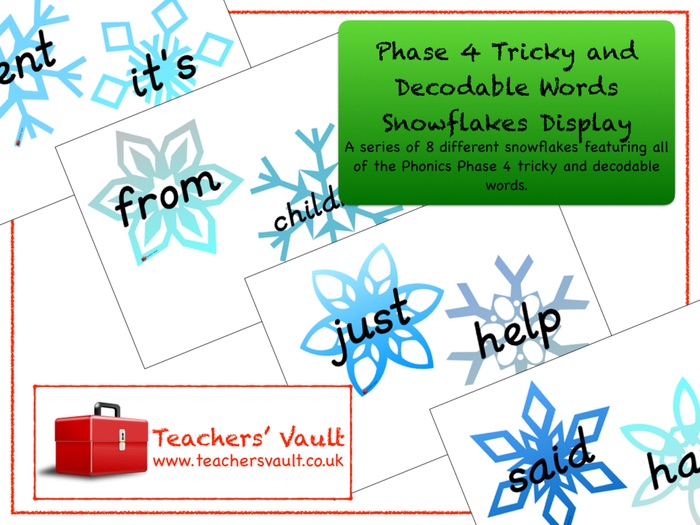 Phase 4 Tricky and Decodable Words Snowflakes Display