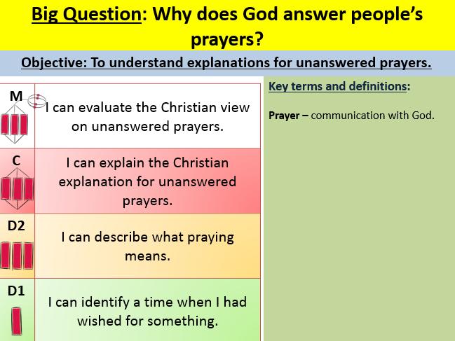 Unanswered prayers lesson