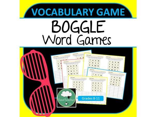 BOGGLE WORD GAME High School ELA Vocabulary Games