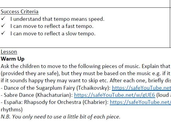 Year 1 Elements of Music Planning (pitch, dynamics, rhythm and pulse)