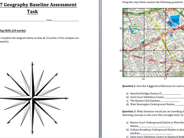 Year 7 Geography Baseline Assessment with Mark Scheme