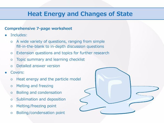 Heat Energy and Changes of State [Worksheet]