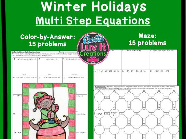 Multi Step Equations Winter Bundle - Maze & Color by Number