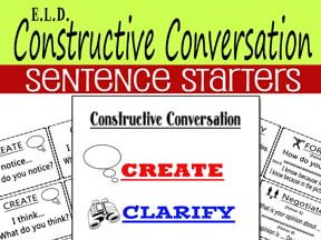 ELD Constructive Conversation Sentence Starters Common Core Aligned