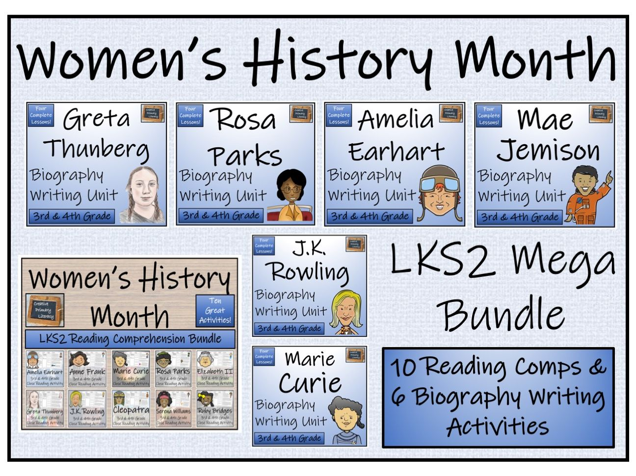 LKS2 Women's History Month Reading Comprehension & Biography Writing Mega Bundle