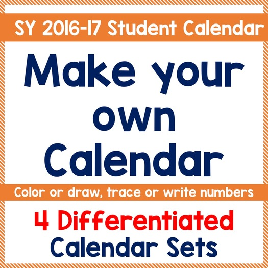 Differentiated Student Monthly Calendar for SY 2016 - 2017