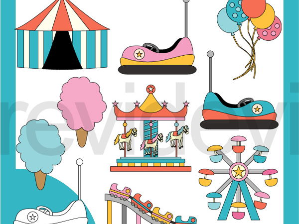 Carnival Pastel Color Clipart - roller coaster, merry go round, boom boom car clip art