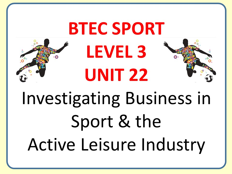 BTEC Sport Level 3: Unit 22 Business in Sport - Video Explanation - Tackling the External Assessment
