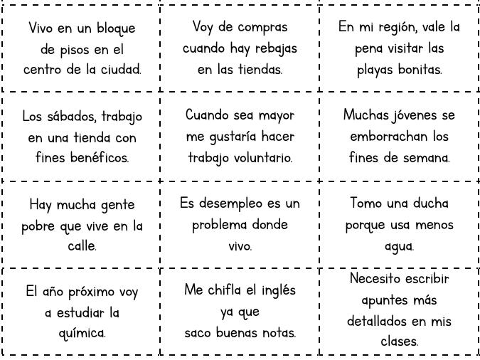 Spanish Translation Revision Card Sort