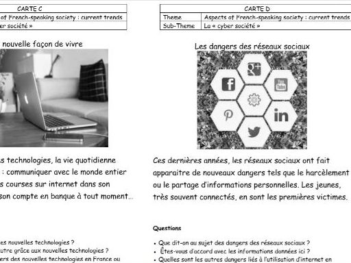 French AQA A-level speaking cards
