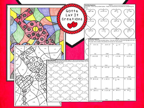 Solving Equations Valentine's Day Math One Step Equations Negatives  Maze & Color Activity Set