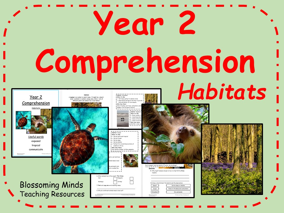 Year 2 Reading Comprehension - Habitats - Science Week
