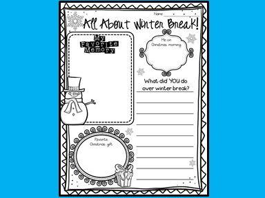 Write About Winter Break!  ELA - Writing - Winter Break Poster