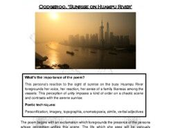 Close reading notes - analysis of Oodgeroo, 'Sunrise on Huampu River'