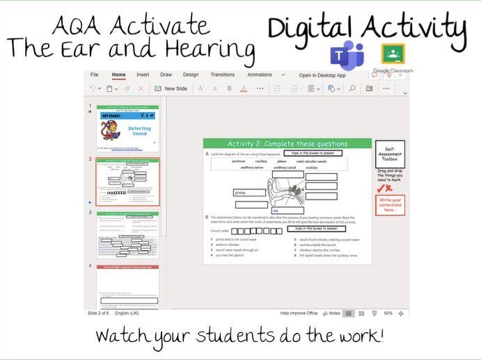 AQA Activate 4.1.4 The ear Digital Activity- Google Classroom / Microsoft Teams Assignments
