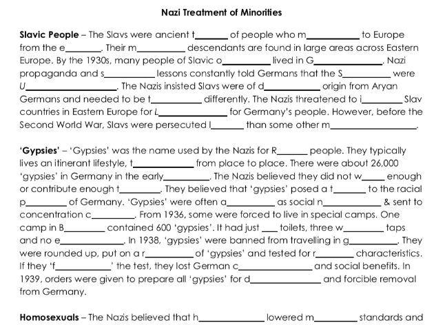 Nazi Treatment of Minorities Word Gap