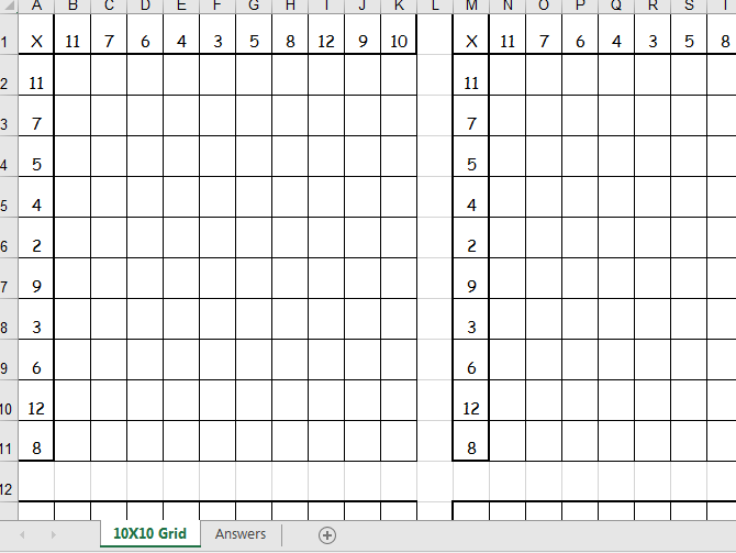 Times Tables Generator in grid form