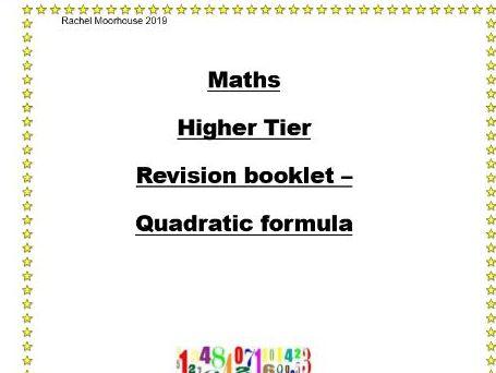 Revision booklet - Quadratic Formula