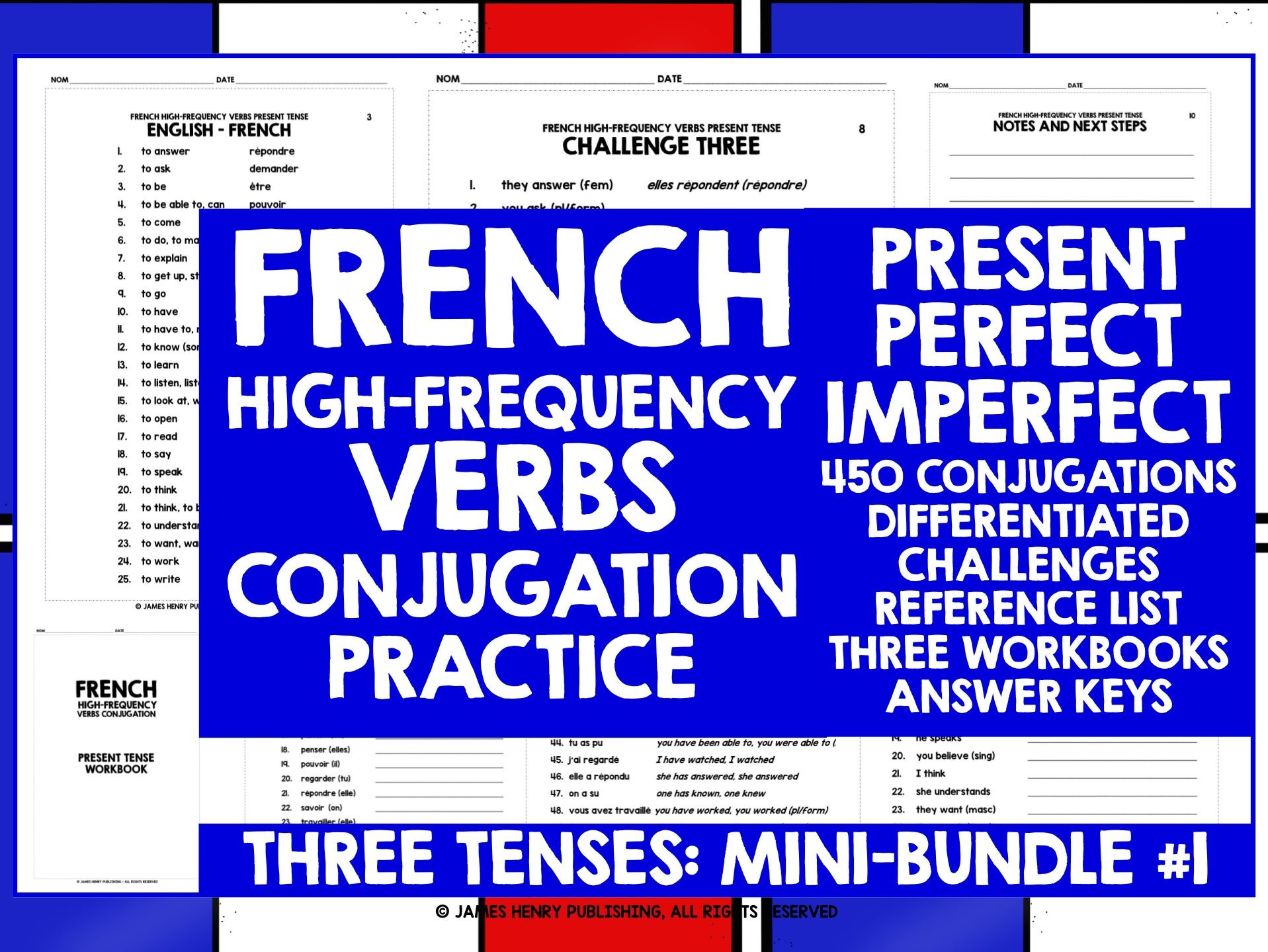 FRENCH HIGH-FREQUENCY VERBS CONJUGATION PRACTICE MINI-BUNDLE #1