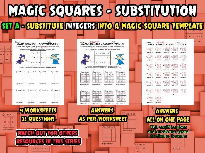 MAGIC SQUARES - SUBSTITUTION - SET A - (Substitute INTEGERS into magic  square template)