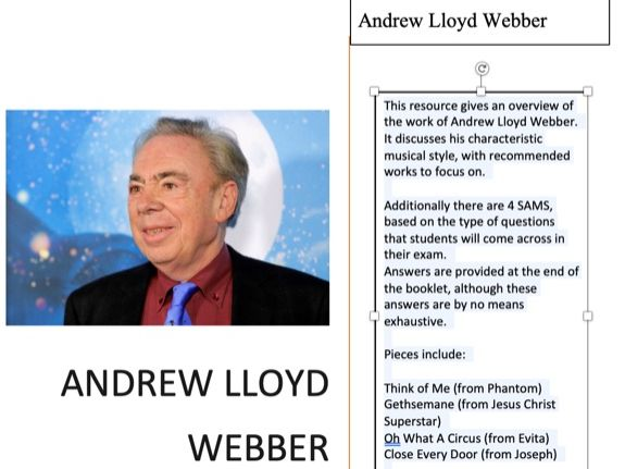 WJEC As Level Musical Theatre - Andrew Lloyd Webber