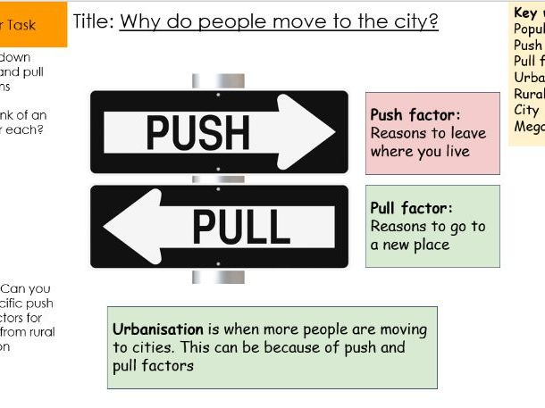 Push and pull factors for urbanisation