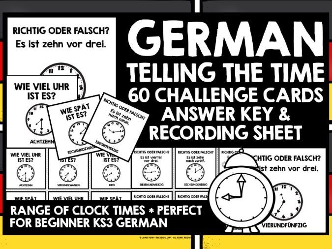 GERMAN TELLING TIME CHALLENGE CARDS RANGE OF ANALOGUE CLOCK TIMES