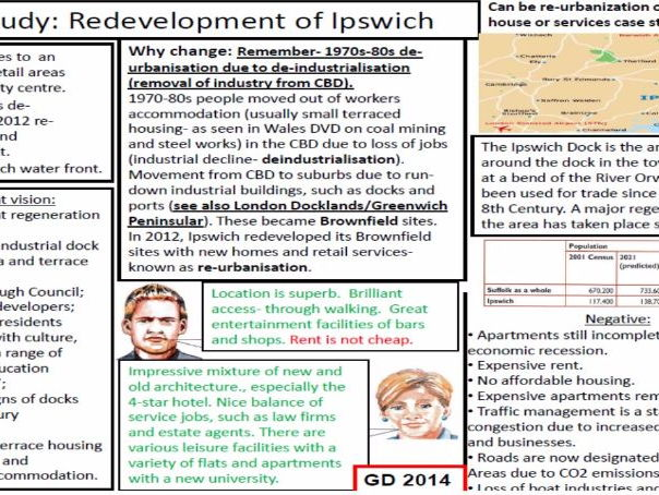 WJEC Geography B Revision BedZED and Redevelopment of Ipswich