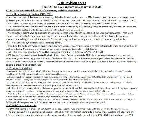 Edexcel A-Level History Paper 2: GDR Revision Notes Topic 1 - 4