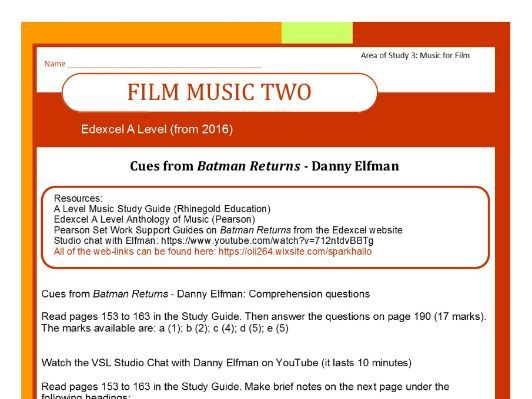 Edexcel Music A Level (from 2016) Film Music 2 Batman Returns