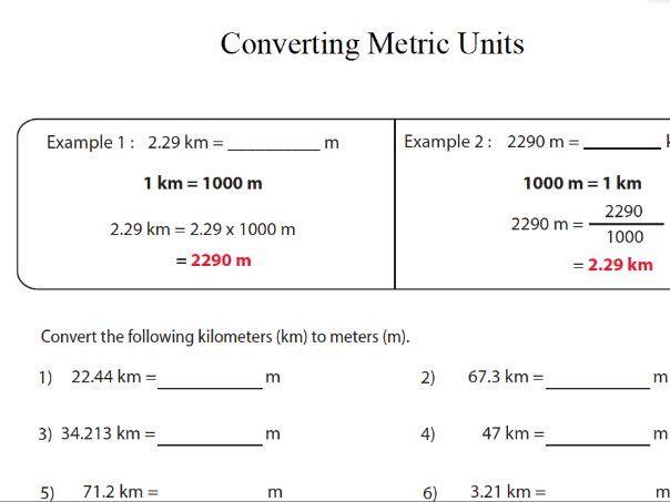 GCSE Maths Revision Converting Metric Units