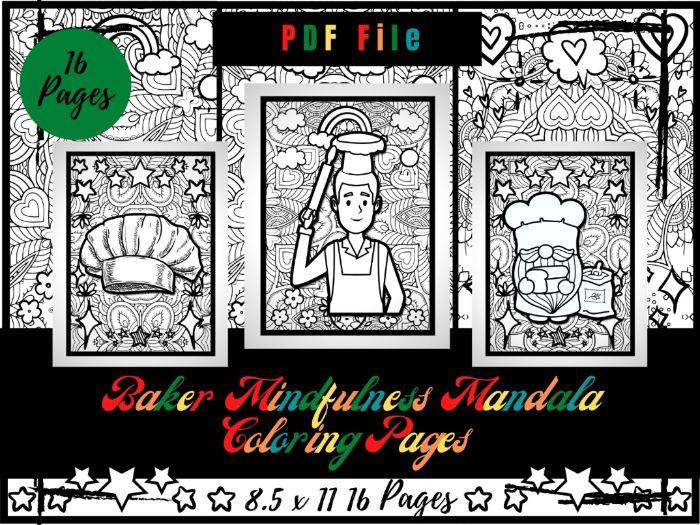 Baker Mindfulness Mandala Colouring Pages, Chef Printable Colouring Sheets PDF