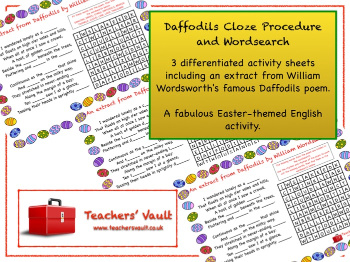 Daffodils Cloze Procedure and Wordsearch