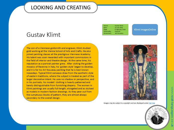 Gustav Klimt.  Looking and Creating: activities inspired by artists