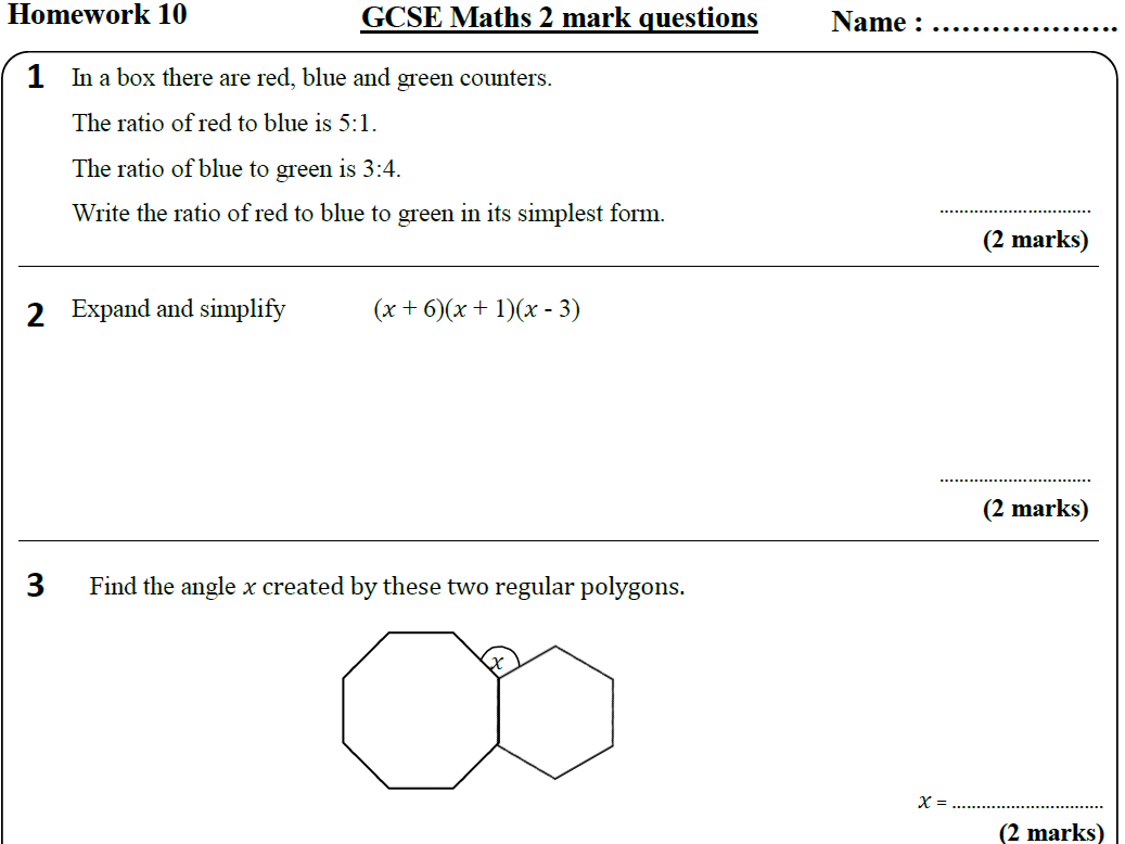 All 50 Maths HIGHER Homework Revision Sheets (9-1) - Includes all ANSWERS