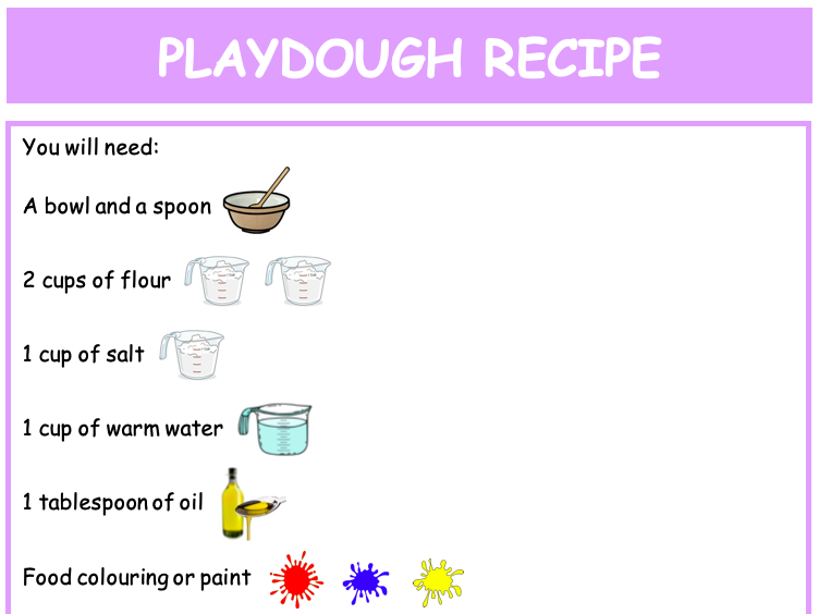Playdough recipe poster (child friendly)