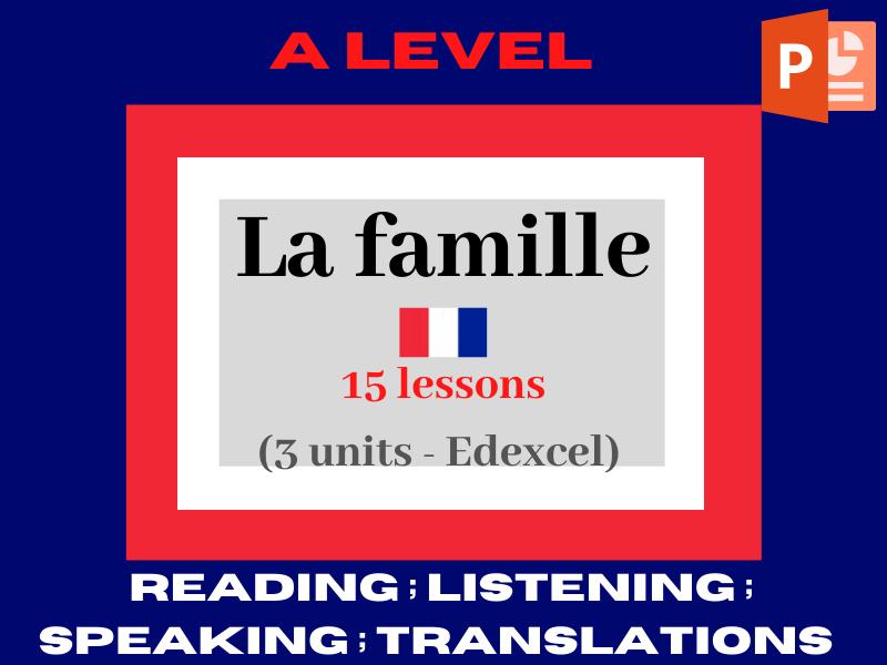 French A level - Les changements dans les structures familiales (more than 15 lessons)