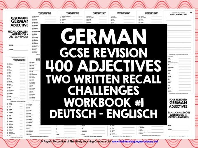 GCSE GERMAN: GERMAN ADJECTIVES RECALL WORKBOOK #1