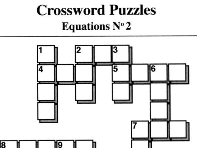 Equations No2 (Crossword Puzzles)
