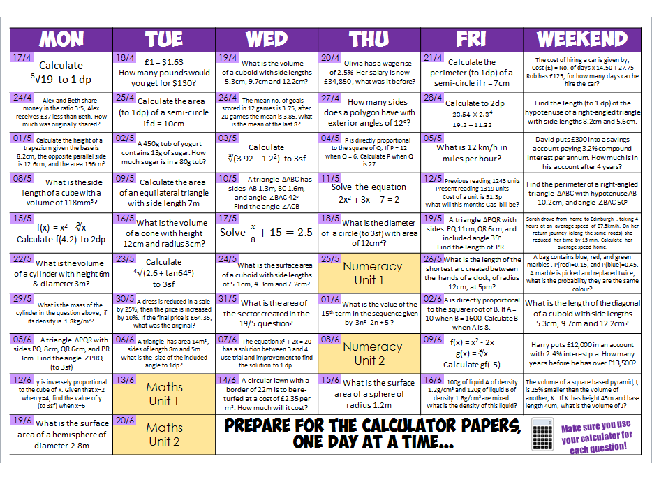 WJEC spec Maths GCSE Countdown Calendars (calculator questions)