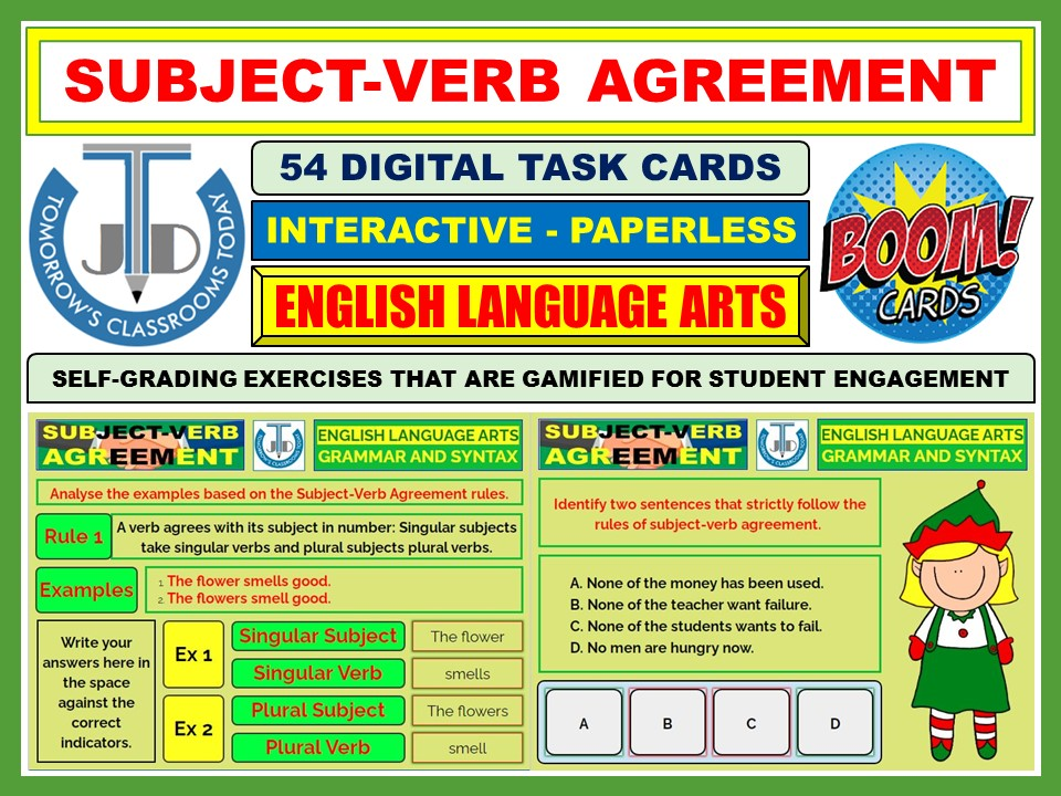 SUBJECT-VERB AGREEMENT: 54 BOOM CARDS