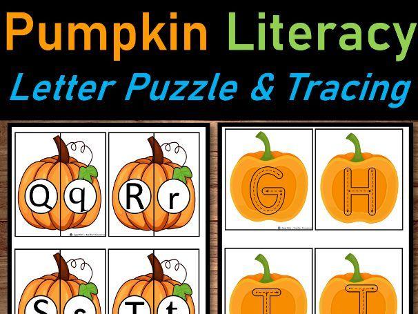 Pumpkin Literacy Center   Letter Match & Alphabet/Tracing for October