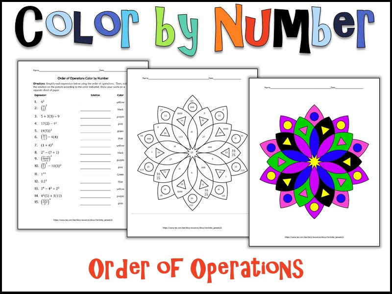 Order of Operations Color by Number by charlotte_james615 - Teaching ...