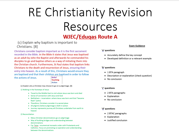 Christianity Beliefs and Practices Revision Resources WJEC/Eduqas