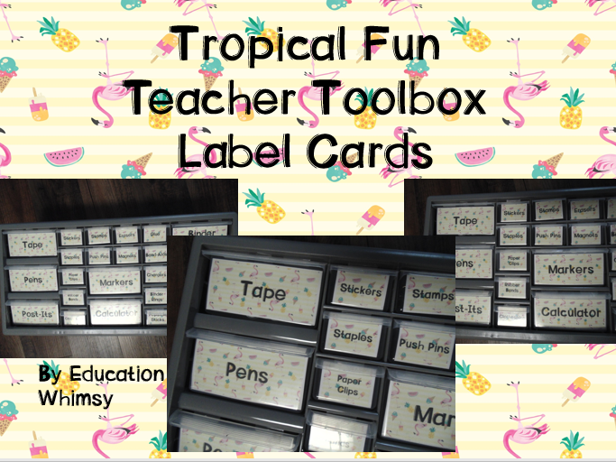 Tropical Fun Teacher Toolbox Label Cards